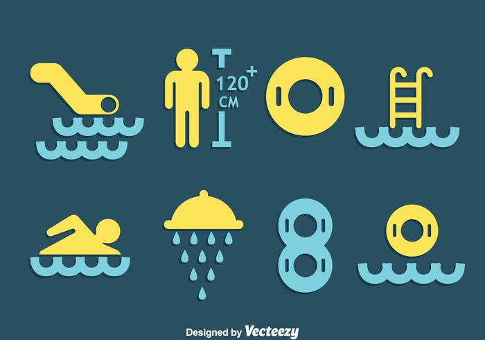 Water Park Element Icons Vector
