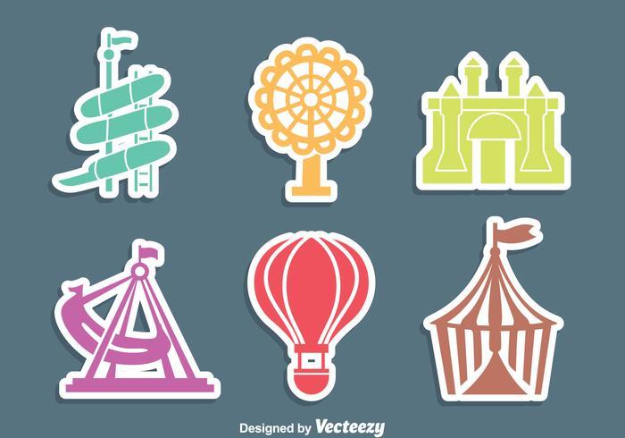 Iconos del parque de atracciones Vector