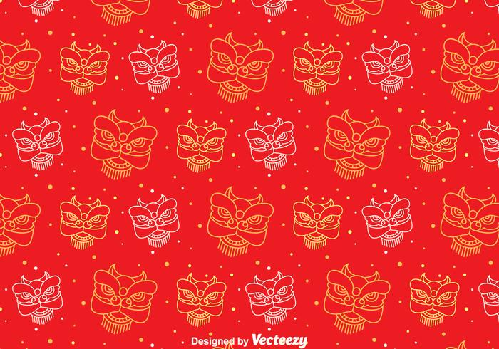 Red Lion Dance Seamless Pattern