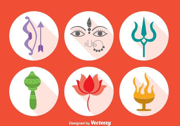 Durga festival element vector set