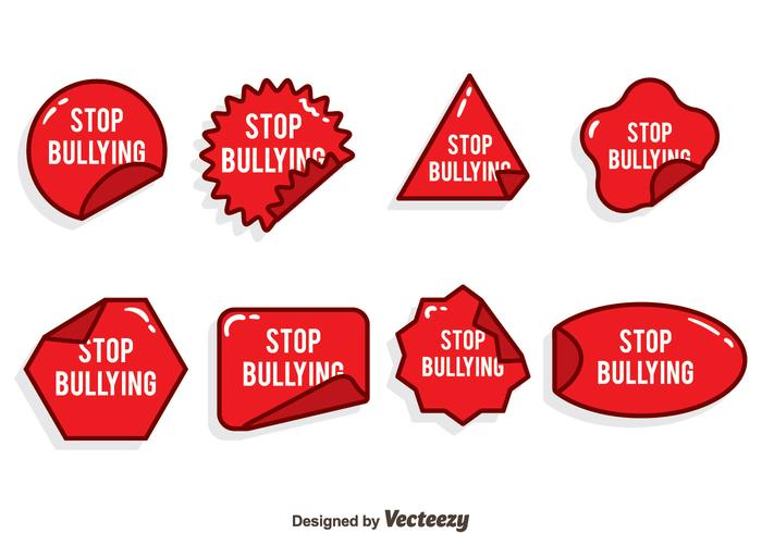 Stop Bullying Red Sticker Vector Set