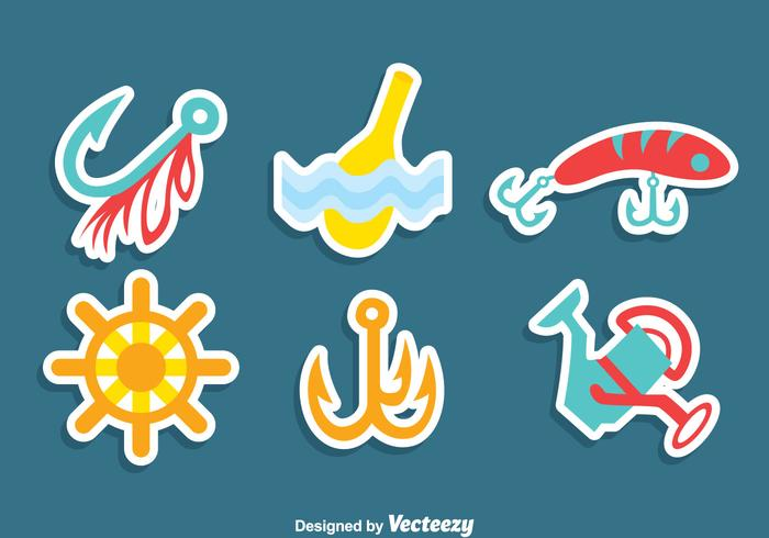 Visserij Element Sticker Vector Set