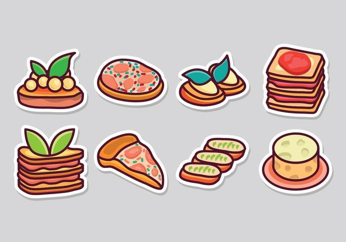 Iconos de comida italiana gratis vector