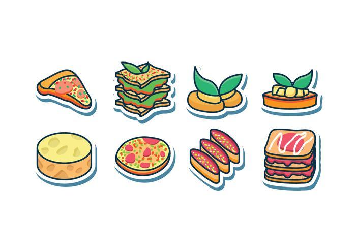 Ensemble d'icônes alimentaires italiennes gratuit