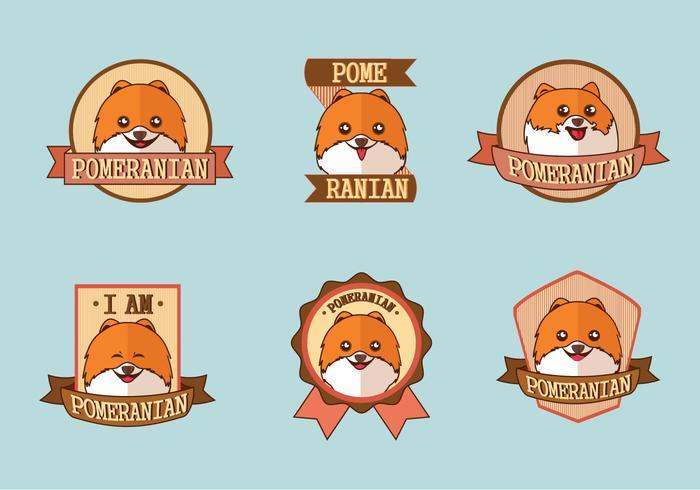 Cute Pomeranian Dog Logo Label Vectors