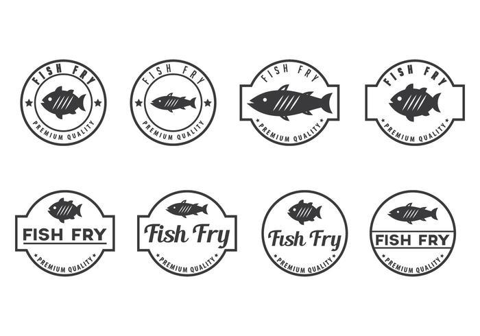 Vetores de crachá de peixe fritos grátis