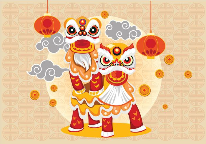 Chinesse Lion Dance and Couple Vector