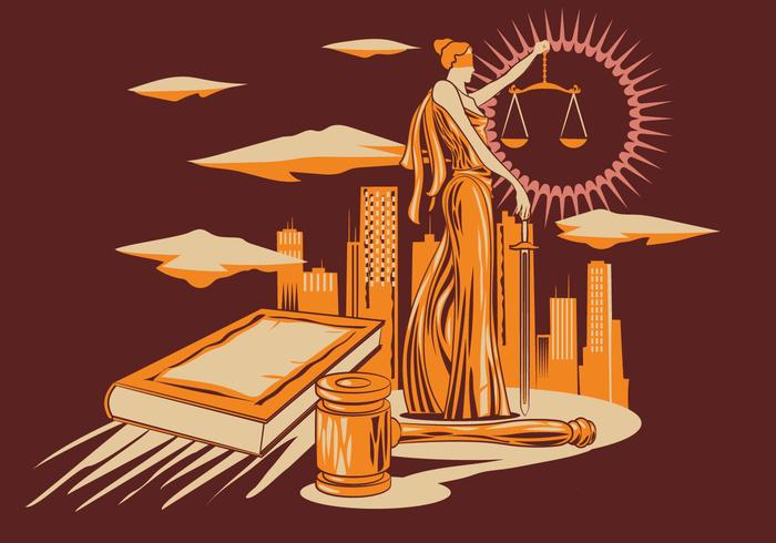Lady Justice Vector Illustration i Trä Carving Design Style.