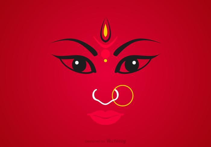 Gratis Maa Durga Gezichts Vector