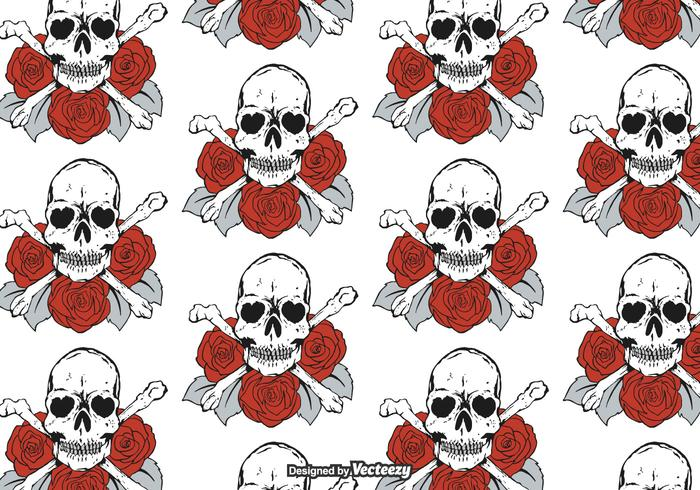 Free Skulls And Roses Vector Pattern