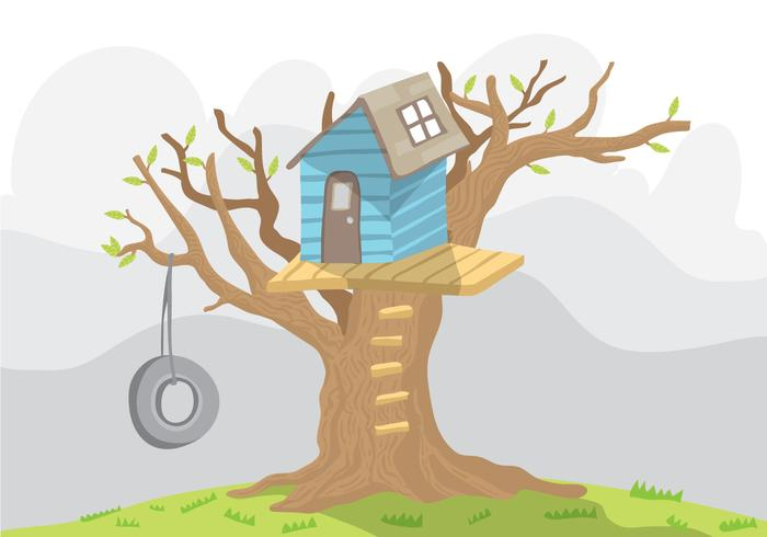 Blue TreeHouse Vector With Swing