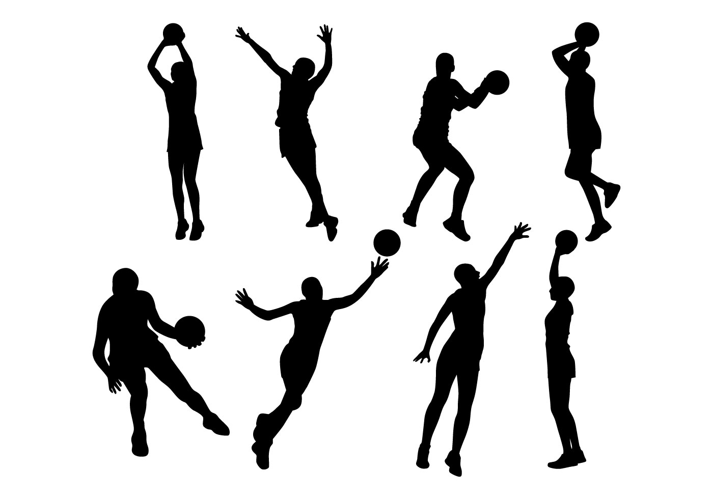Free Netball Player Silhouettes Vector Download Free