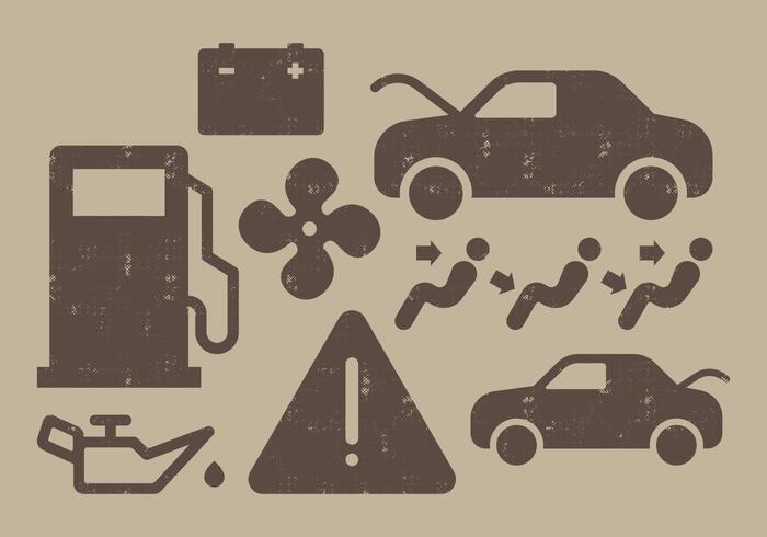 Icônes du tableau de bord de voiture