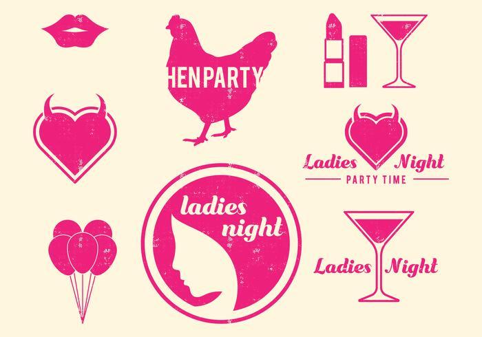 Retro Hen Party Design Elements