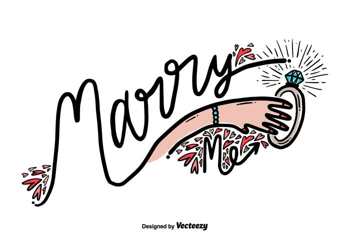 Gratis Marry Me Hand Draw Vector