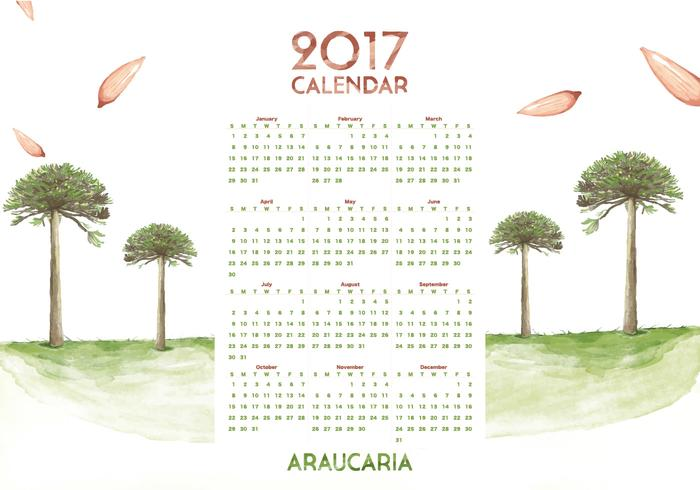 Araucaria Calendar 2017 Watercolor Vector