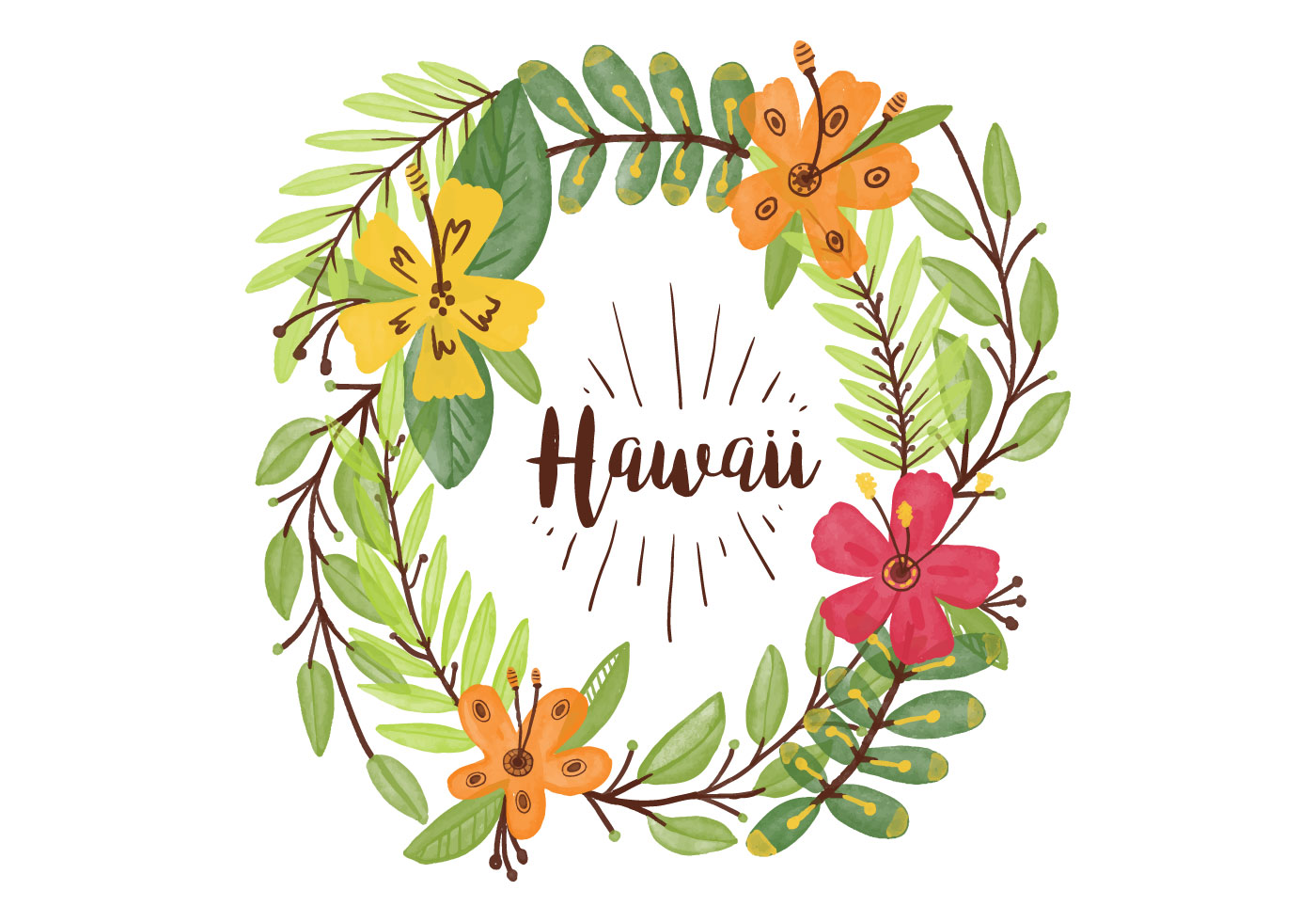 Hawaiian flower free vector art 8720 free downloads free hawaiian lei watercolor background izmirmasajfo