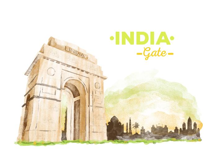 Free India Gate Watercolor Vector