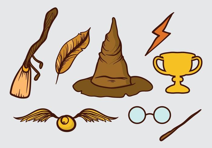 Insieme disegnato a mano di elementi del mago vettore