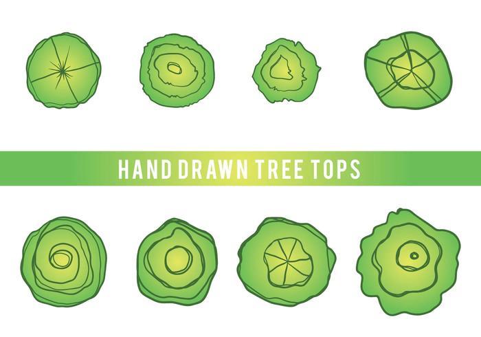 Mano libre dibujado árbol Tops Vector