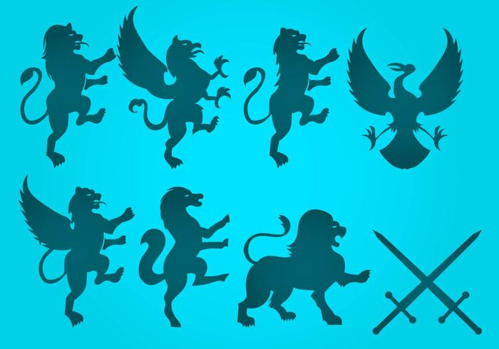 Vecteur libre de lion rampant