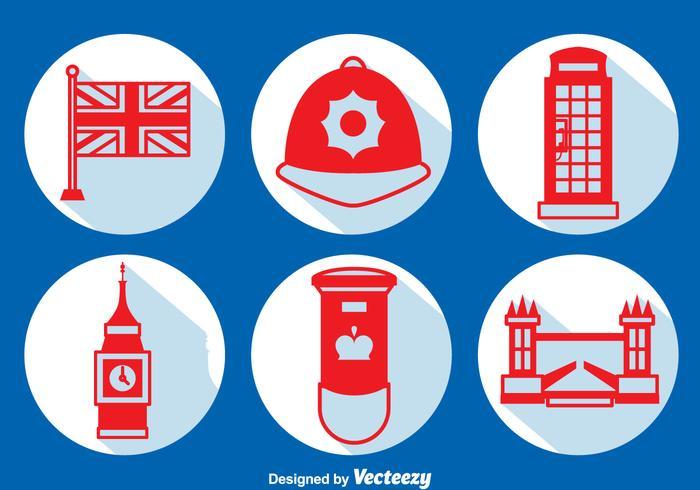 United Kingdom Element Long Shadow Icons Vector