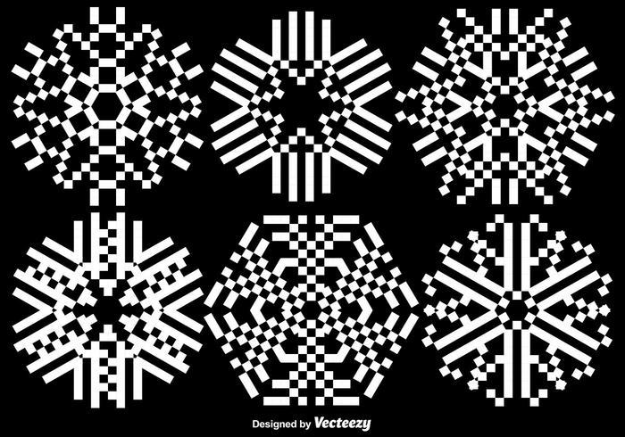 Ensemble de flocons de neige pixélisé - vecteur