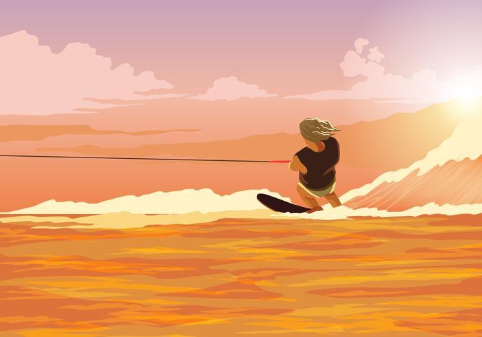 Water Skiing Action Vector
