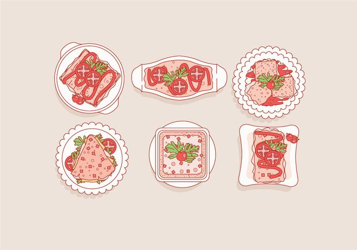 Lasagna Top View Vector