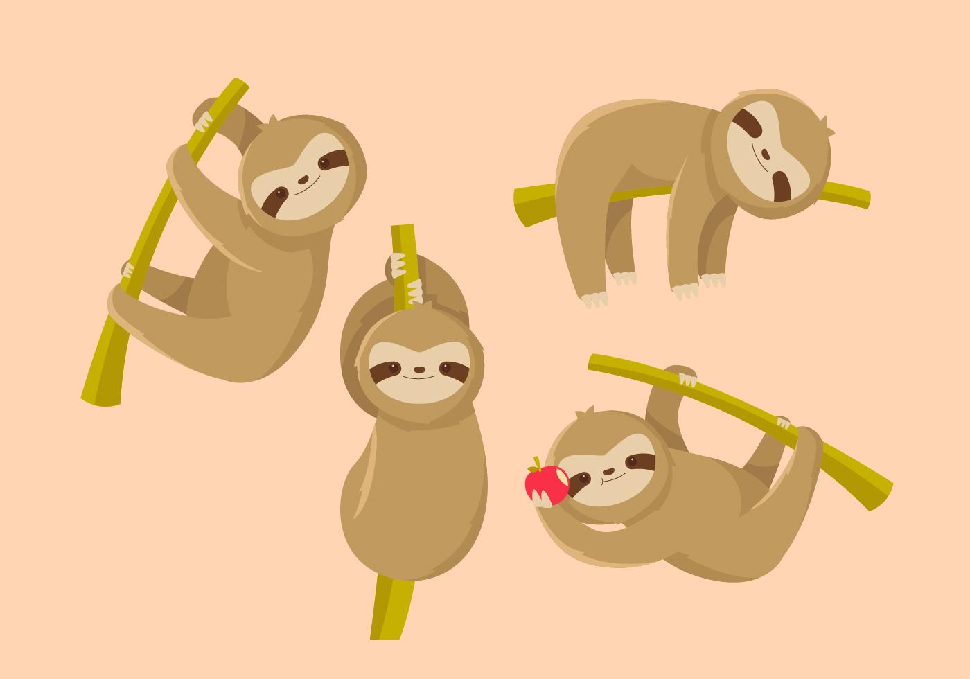 Sloth flat vector - Download Free Vectors, Clipart ...
