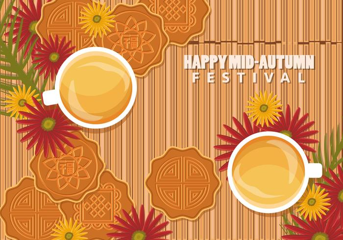 Chinese Mid Autumn Festival Background With Mooncake And Tea