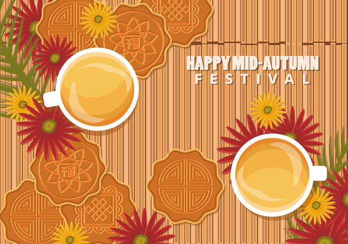 Kinesisk Mid Autumn Festival Bakgrund Med Mooncake And Tea