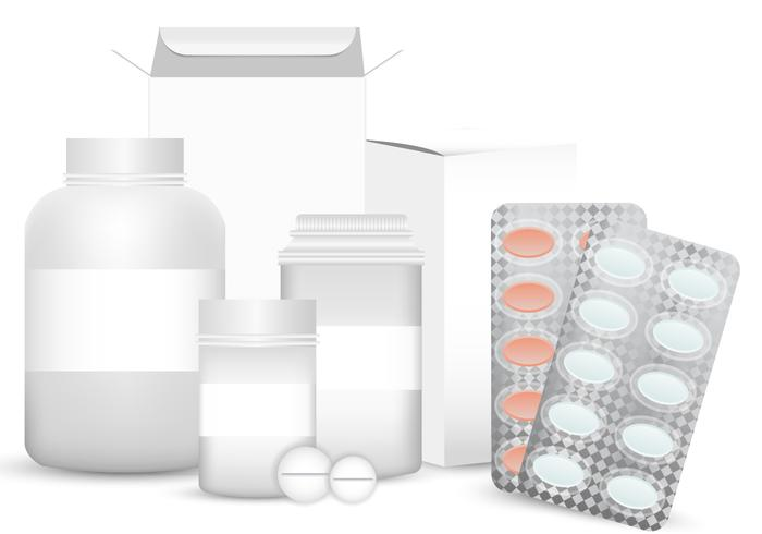 Vector Blank Set of Plastic Packaging Pill Box