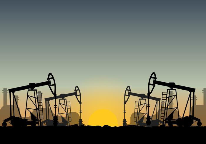 Campo petrolífero sobre vector de la puesta del sol