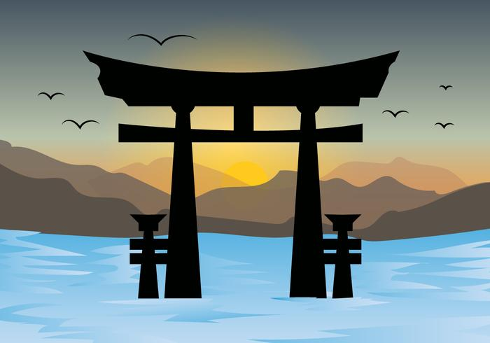 Torii Gates And Sunset Landscape Vector