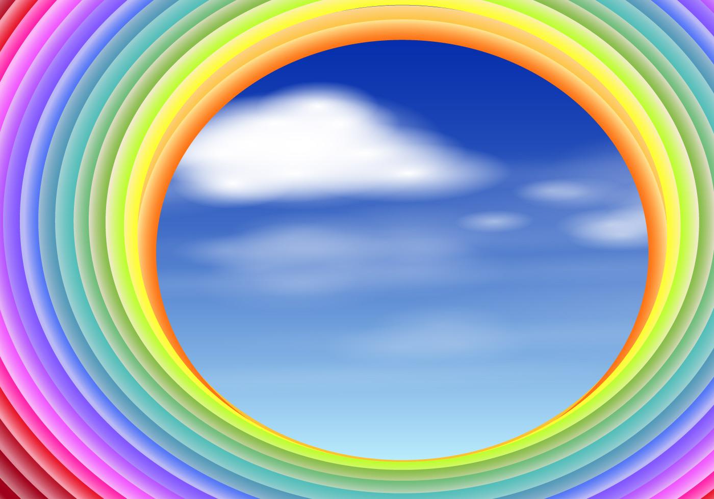Vector Rainbow Slinky With Sky Scene Illustration Black Circle Vectors Photos And
