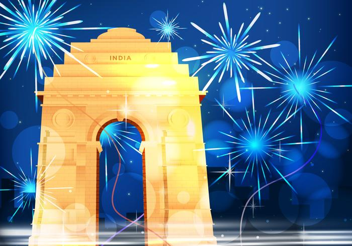 India Night Gate With Fireworks Illustration