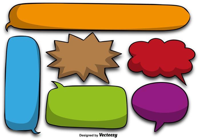 Colorido discurso de dibujos animados burbujas - Vector
