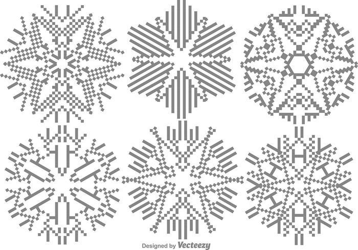 Pixelated Snowflakes Set vector