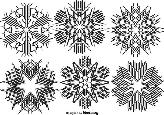 Vektor Pixelated Snowflakes Set