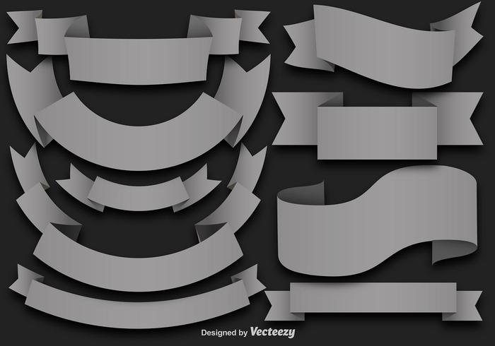 Vektor Set Of Grey Flat Ribbons