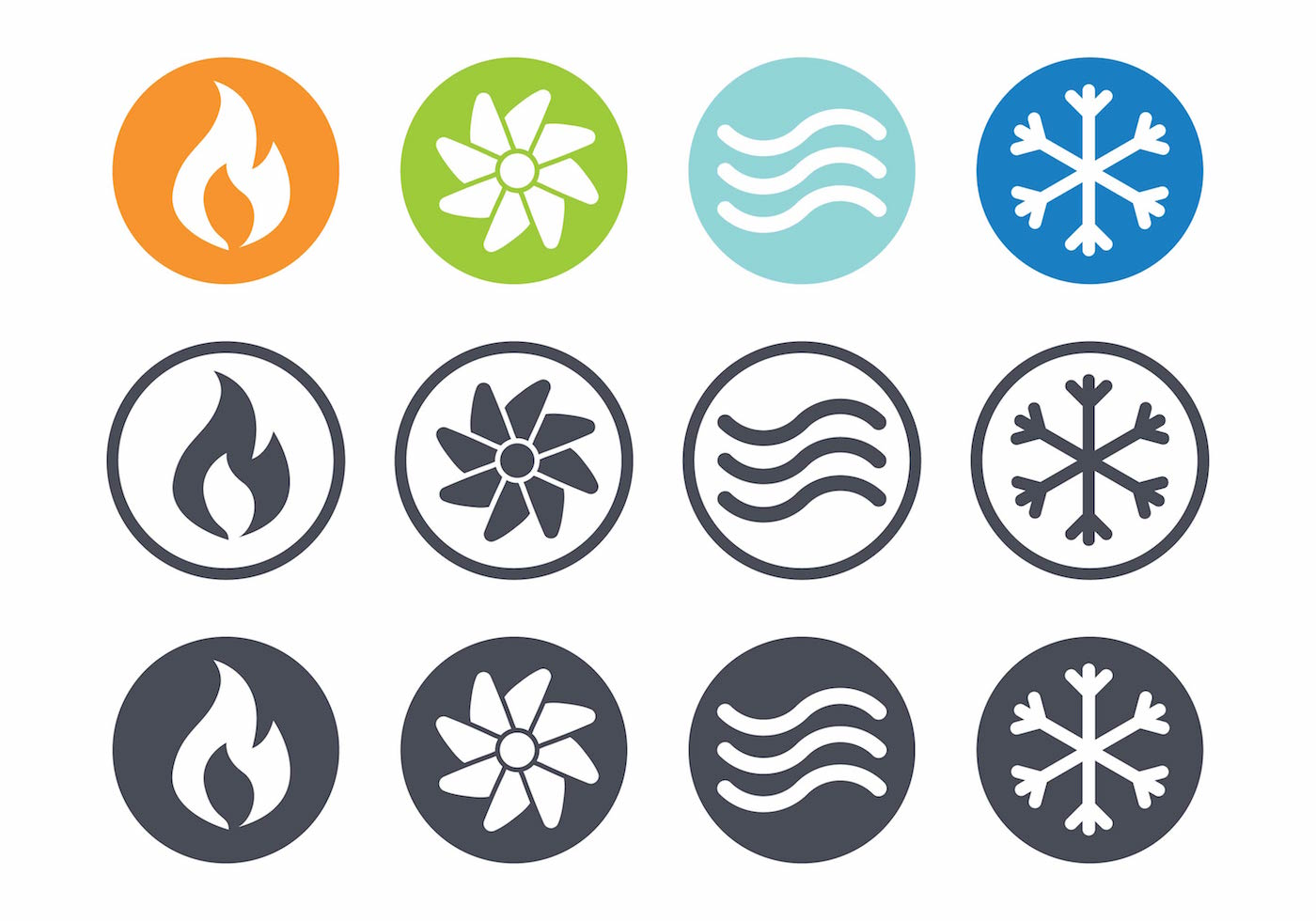 hvac vector icon set download free vector art stock graphics