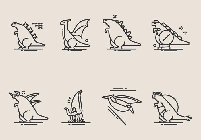 Icônes vectorielles de dinosaures
