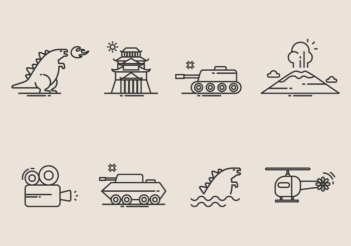 Iconos de Godzilla vector