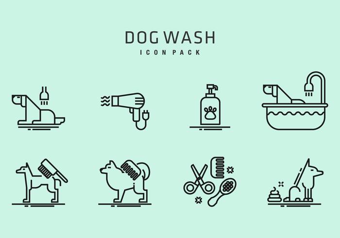 Icônes de lavage de chien