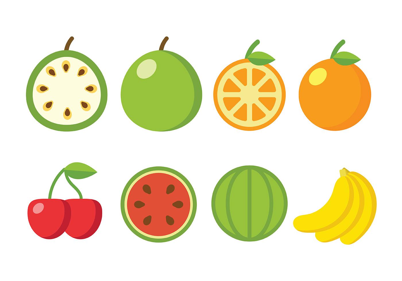 flat fruit vector icons download free vector art stock