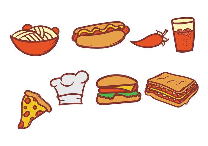 Hand getekende voedsel vector set