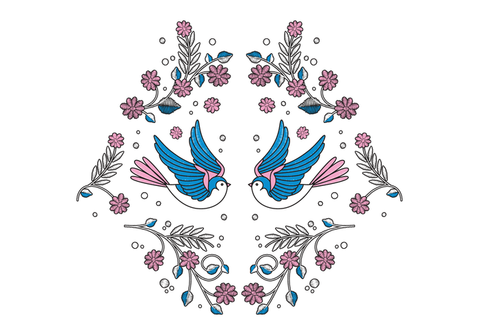 Bird Embroidery Vector
