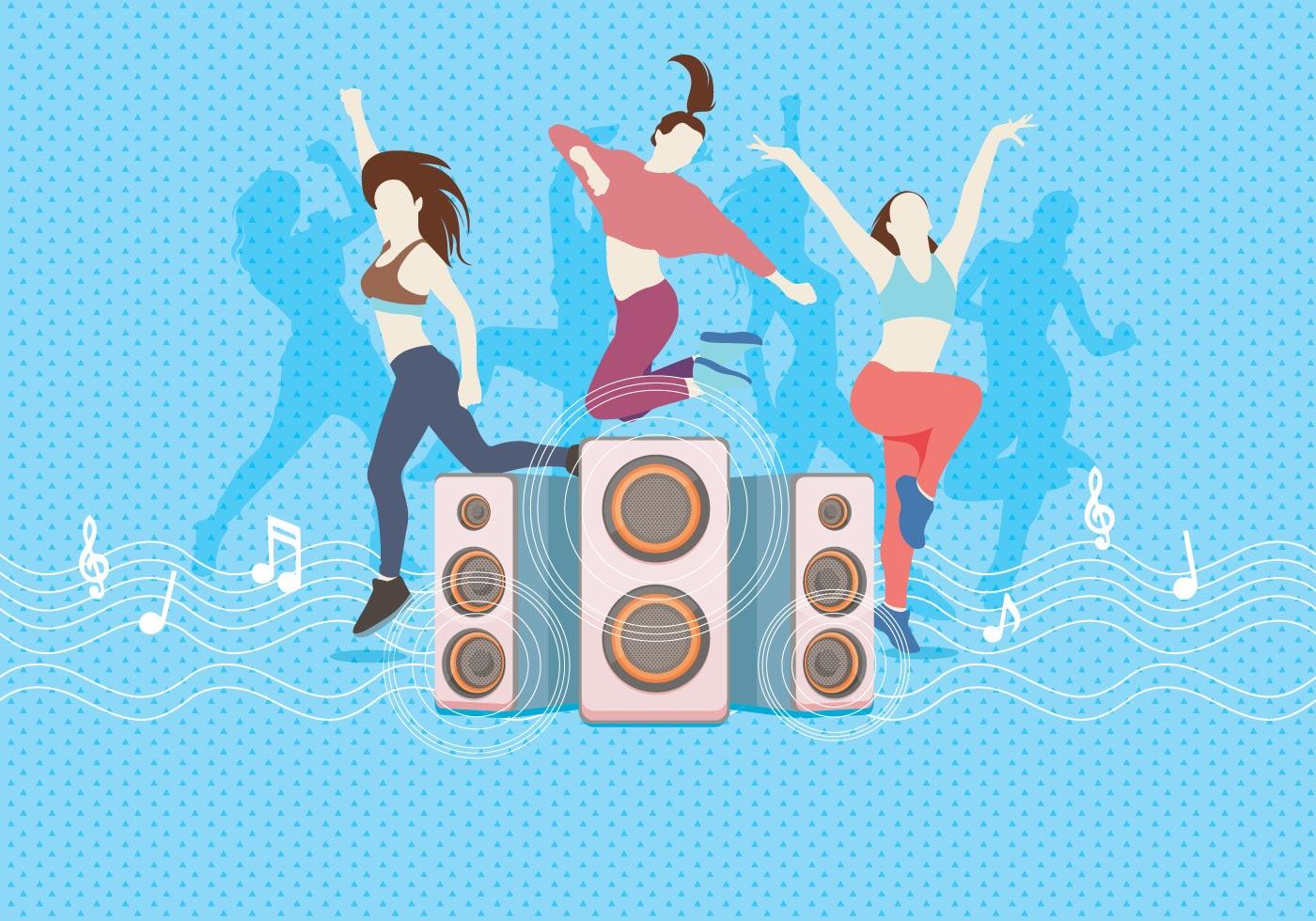 Zumba Dancing With Speaker Vector Download Free Vector