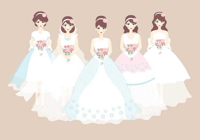 Bride and Bridesmaid Dress Vector